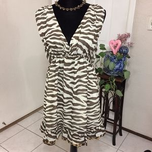 LaROK Brown Ivory Zebra Stripe Chiffon Dress (G3)